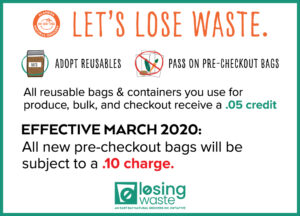 East Bay Natural Grocers Pre-Checkout Bag Fee Announcement